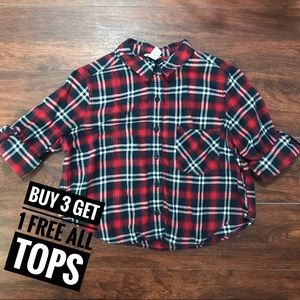 Red Plaid Cropped Flannel Size S